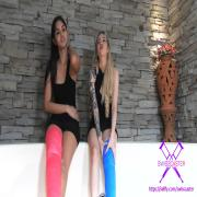 2 girls with long cast legs in jacuzzi (LCL)